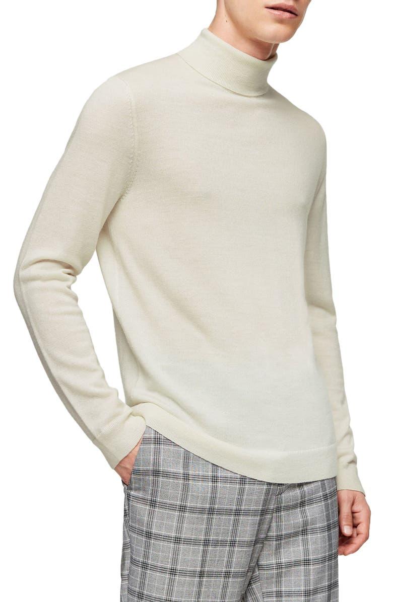TOPMAN Merino Wool Turtleneck Sweater, Main, color, OFF WHITE