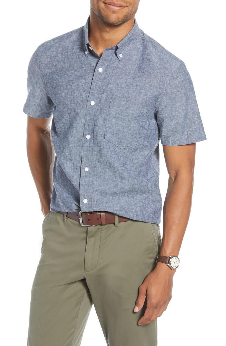 1901 Trim Fit Short Sleeve Linen Blend Button-Down Shirt, Main, color, NAVY IRIS COTTON LINEN