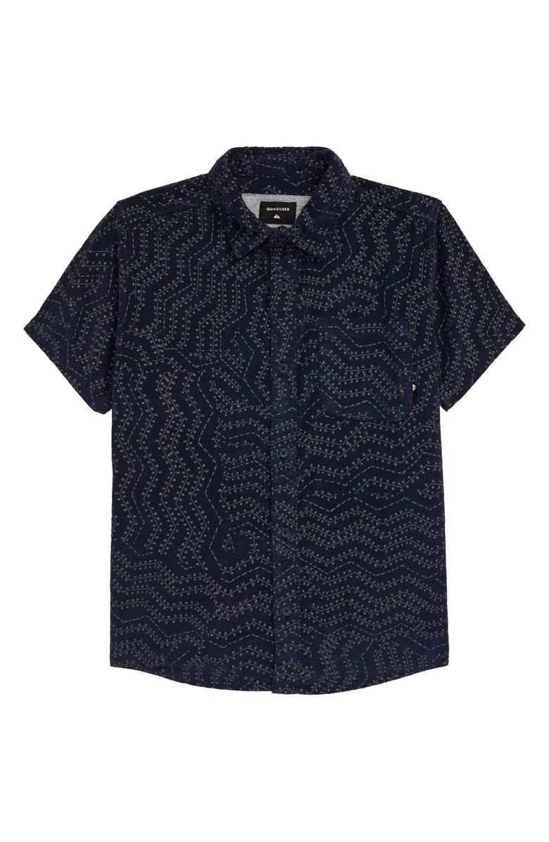 QUIKSILVER Botanic Bats Corduroy Shirt, Main, color, SKY CAPTAIN