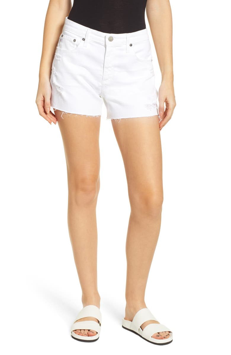 AG Hailey Boyfriend Cutoff Denim Shorts, Main, color, 1 YEAR LOW WHITE