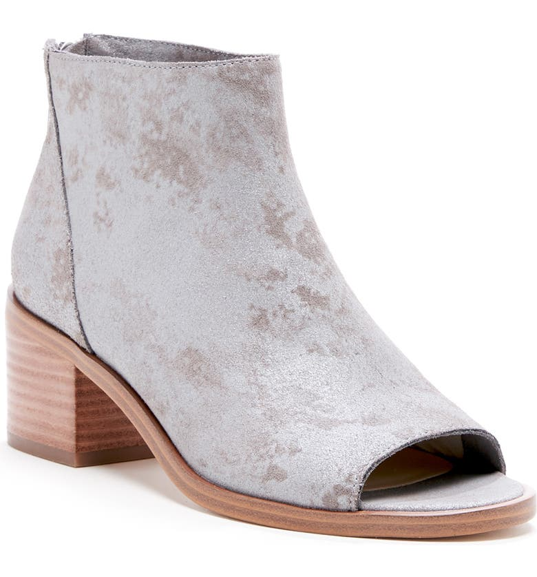 SOLE SOCIETY Tabbie Open Toe Bootie, Main, color, LIGHT GREY LEATHER