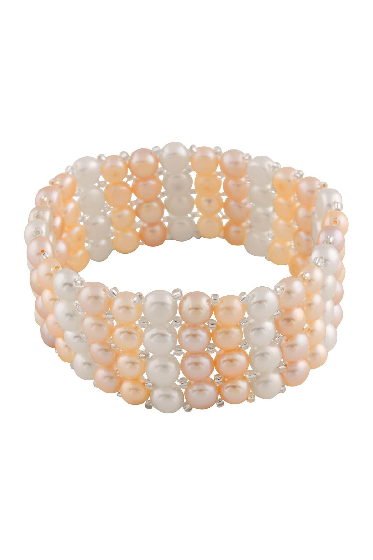 Image of Splendid Pearls Stacked Multicolored 7-8mm Pearl Stretch Bracelet