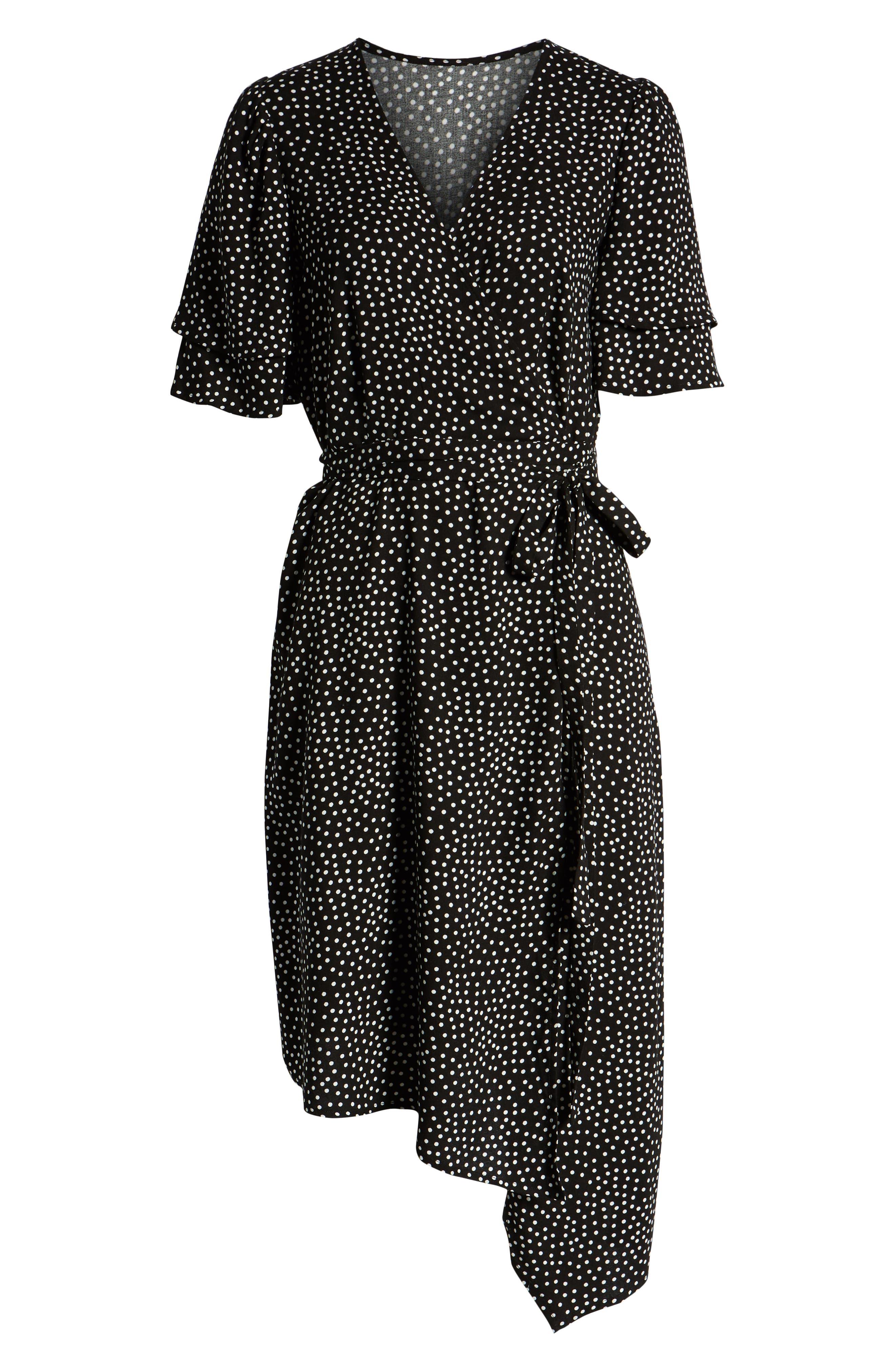,                             Ruffle Sleeve Wrap Dress,                             Alternate thumbnail 13, color,                             001