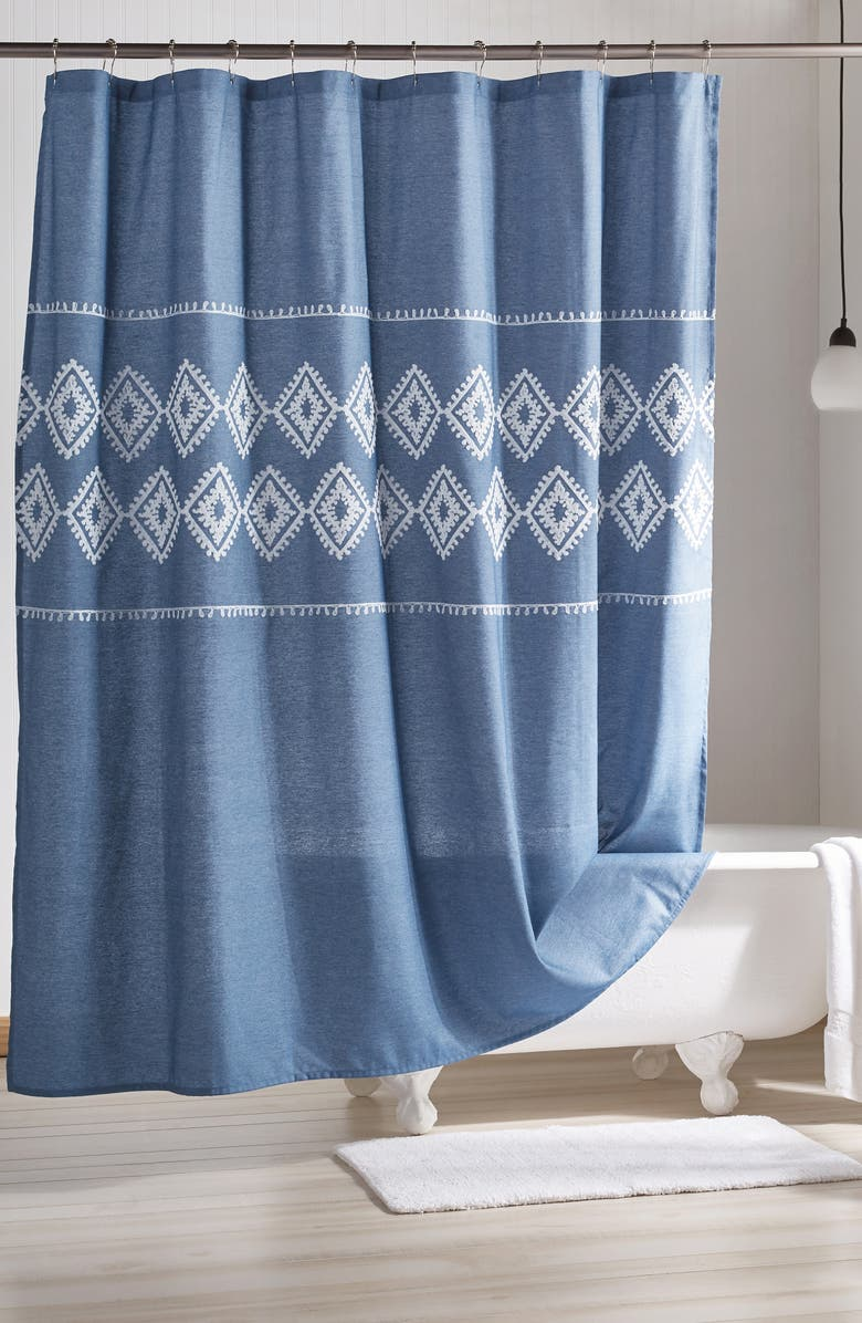 PERI HOME Geo Embroidered Chambray Shower Curtain, Main, color, BLUE
