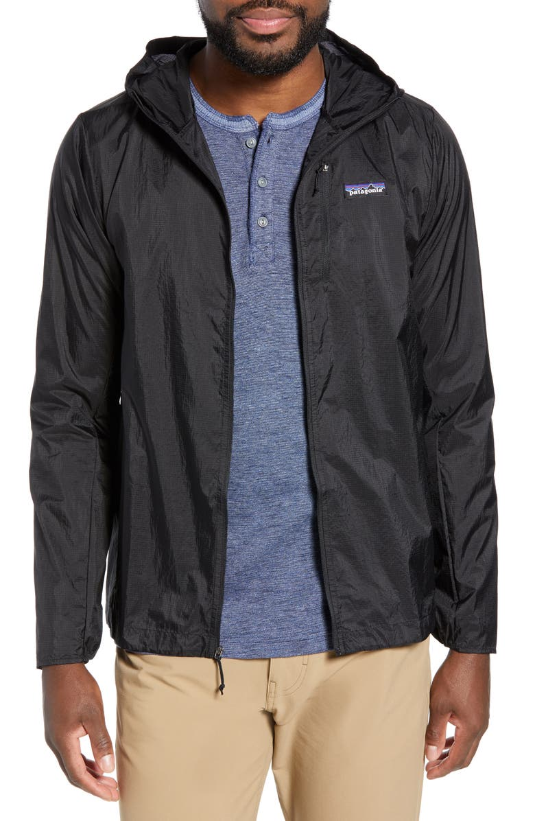 PATAGONIA Houdini<sup>®</sup> Water Repellent Hooded Jacket, Main, color, BLACK