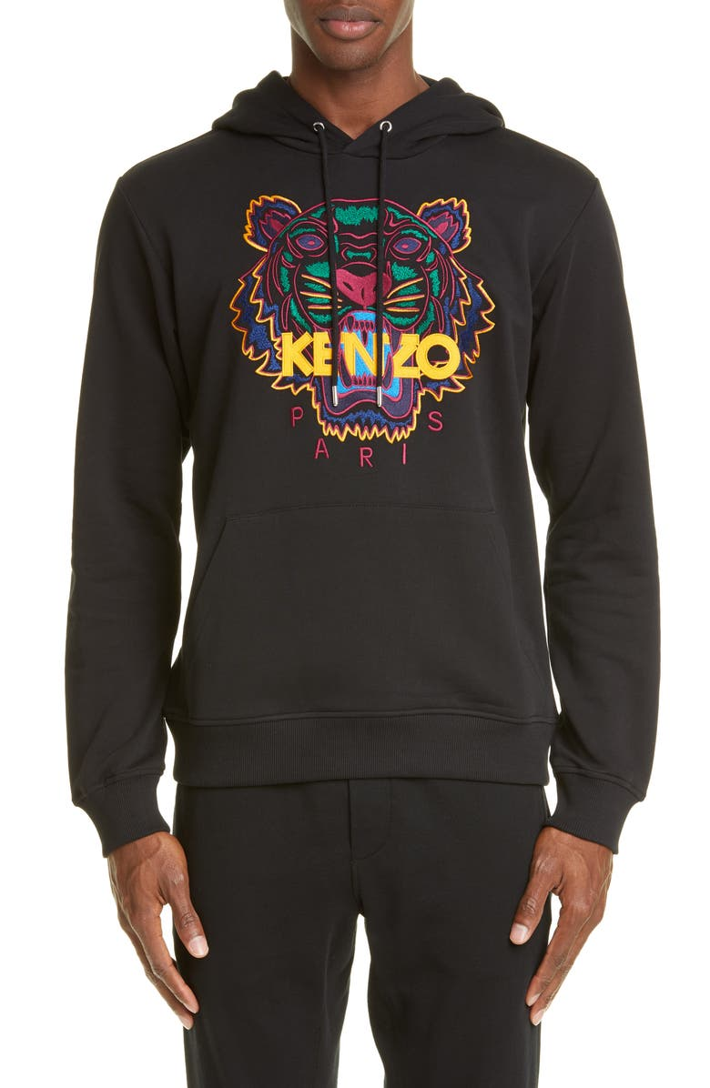 KENZO Classic Tiger Embroidered Hooded Sweatshirt, Main, color, BLACK