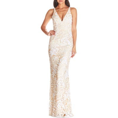 Dress The Population Sharon Lace Evening Gown, Ivory