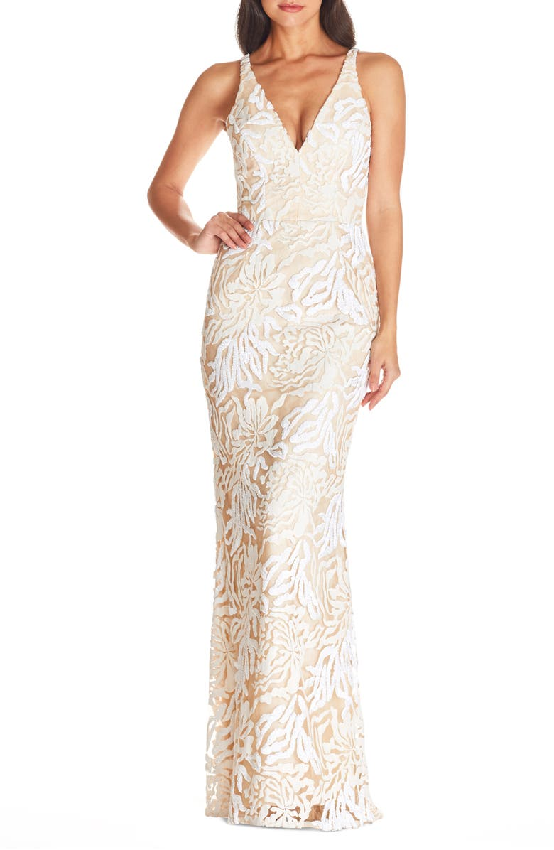 DRESS THE POPULATION Sharon Lace Evening Gown, Main, color, OFF WHITE