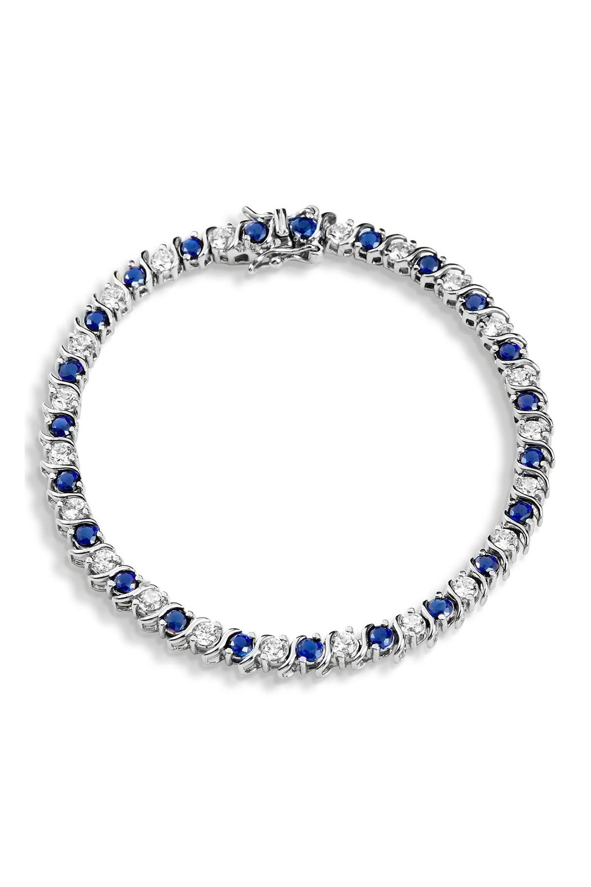 Savvy Cie Sterling Silver Alternating Created Sapphire & CZ Tennis Bracelet at Nordstrom Rack