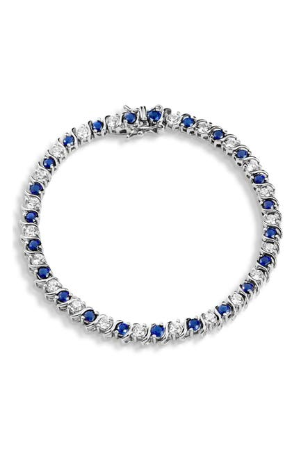 Image of Savvy Cie Sterling Silver Alternating Created Sapphire & CZ Tennis Bracelet
