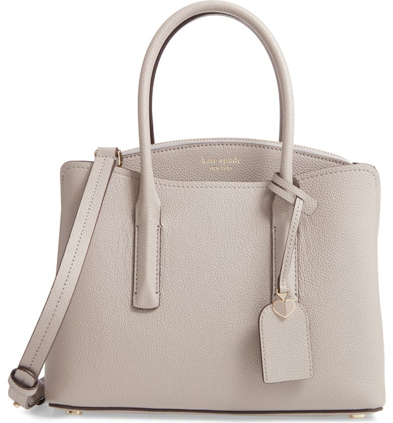 KATE SPADE NEW YORK medium margaux leather satchel, Main, color, TRUE TAUPE