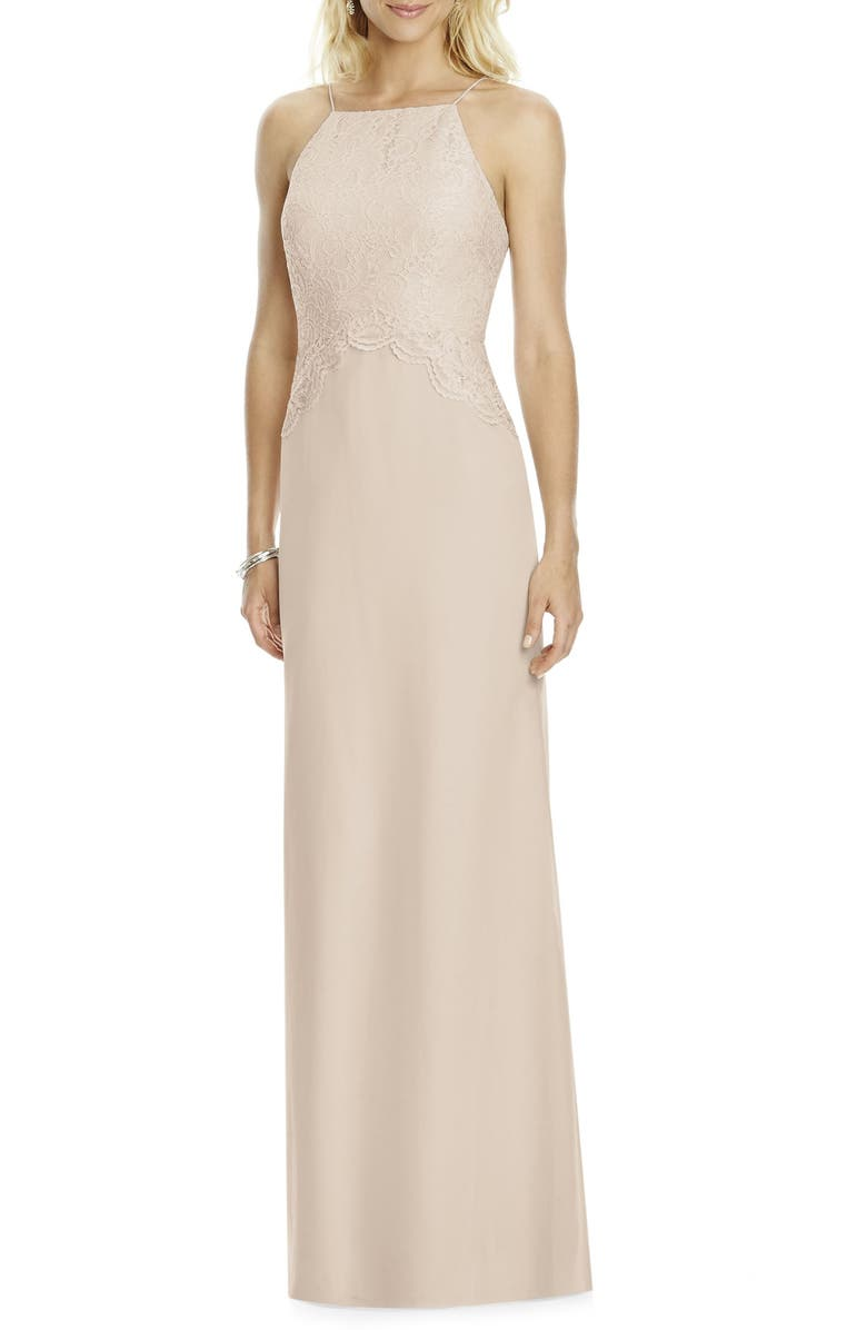 AFTER SIX Square Neck Lace & Chiffon Gown, Main, color, CAMEO