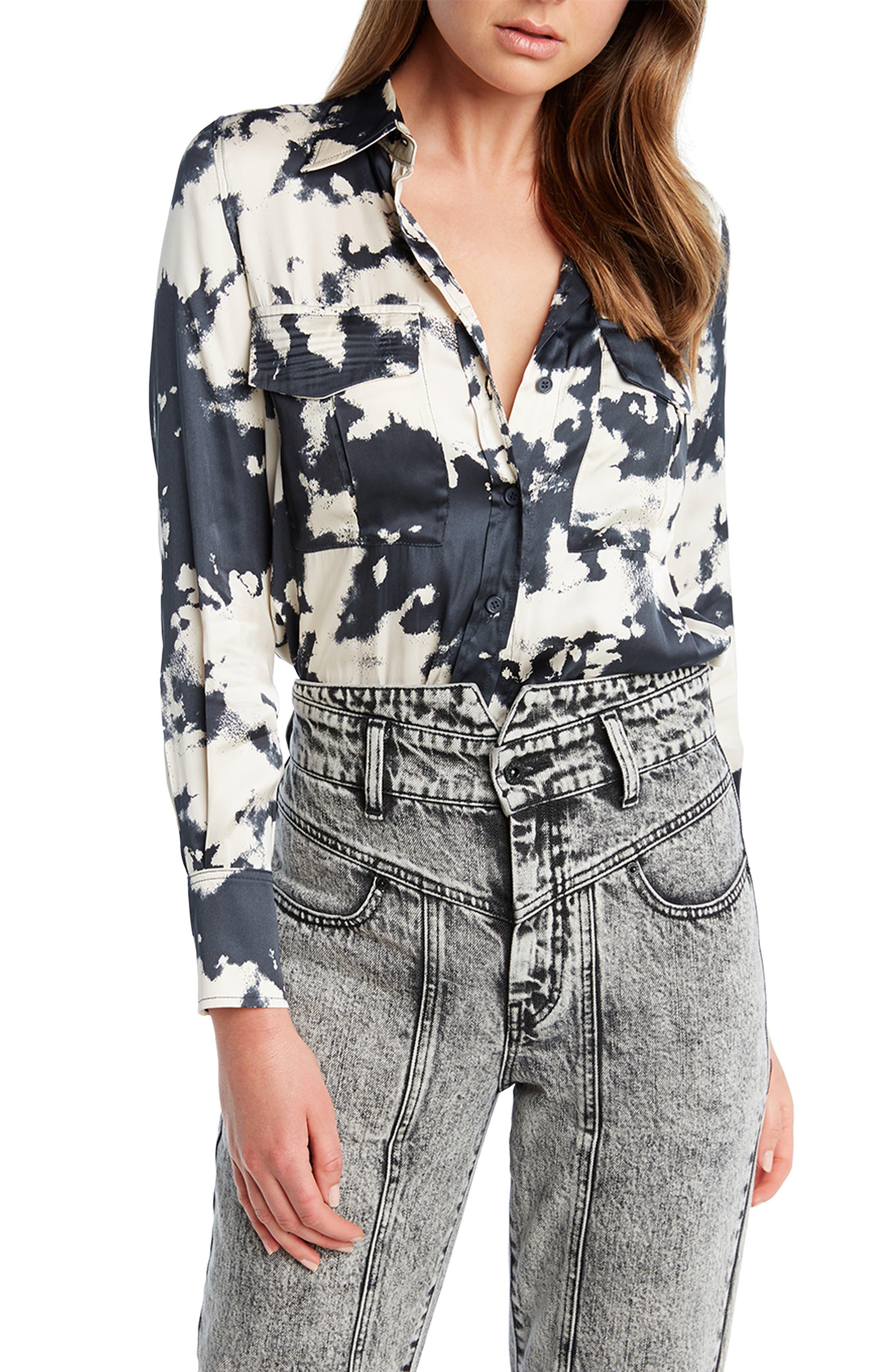 Tie Dye Print Button Up Blouse by Bardot