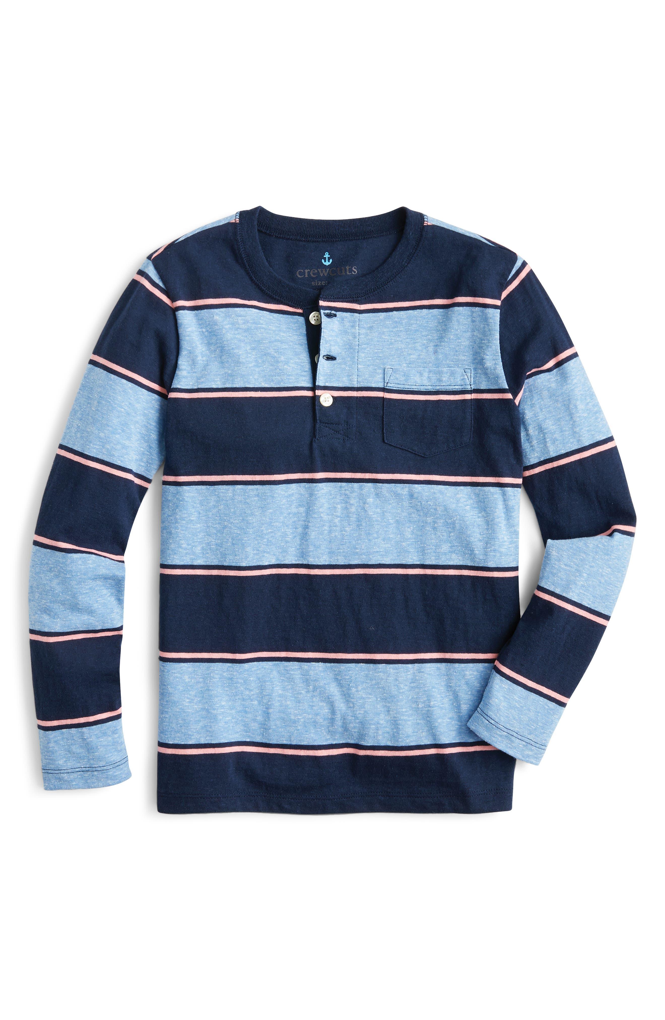 Boys Crewcuts By Jcrew Stripe Long Sleeve Henley Shirt Size 14  Blue