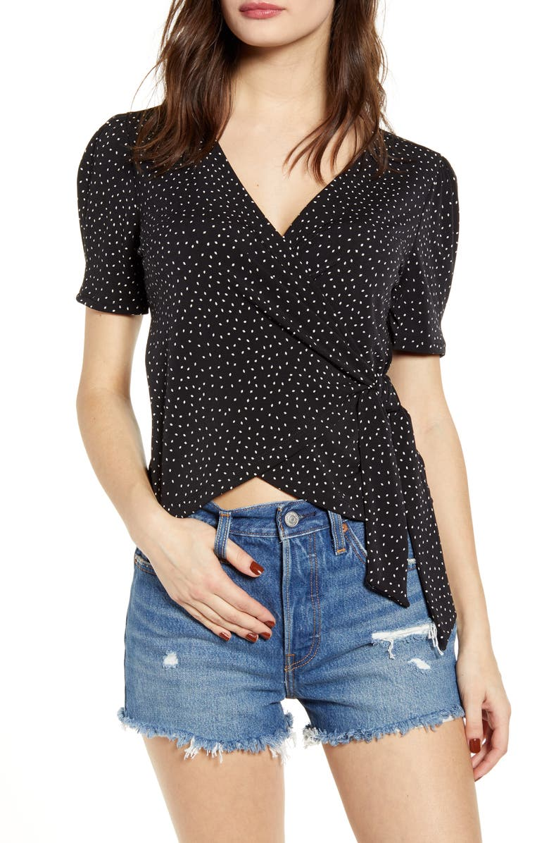 ALL IN FAVOR Wrap Top, Main, color, BLACK/ WHITE DOT