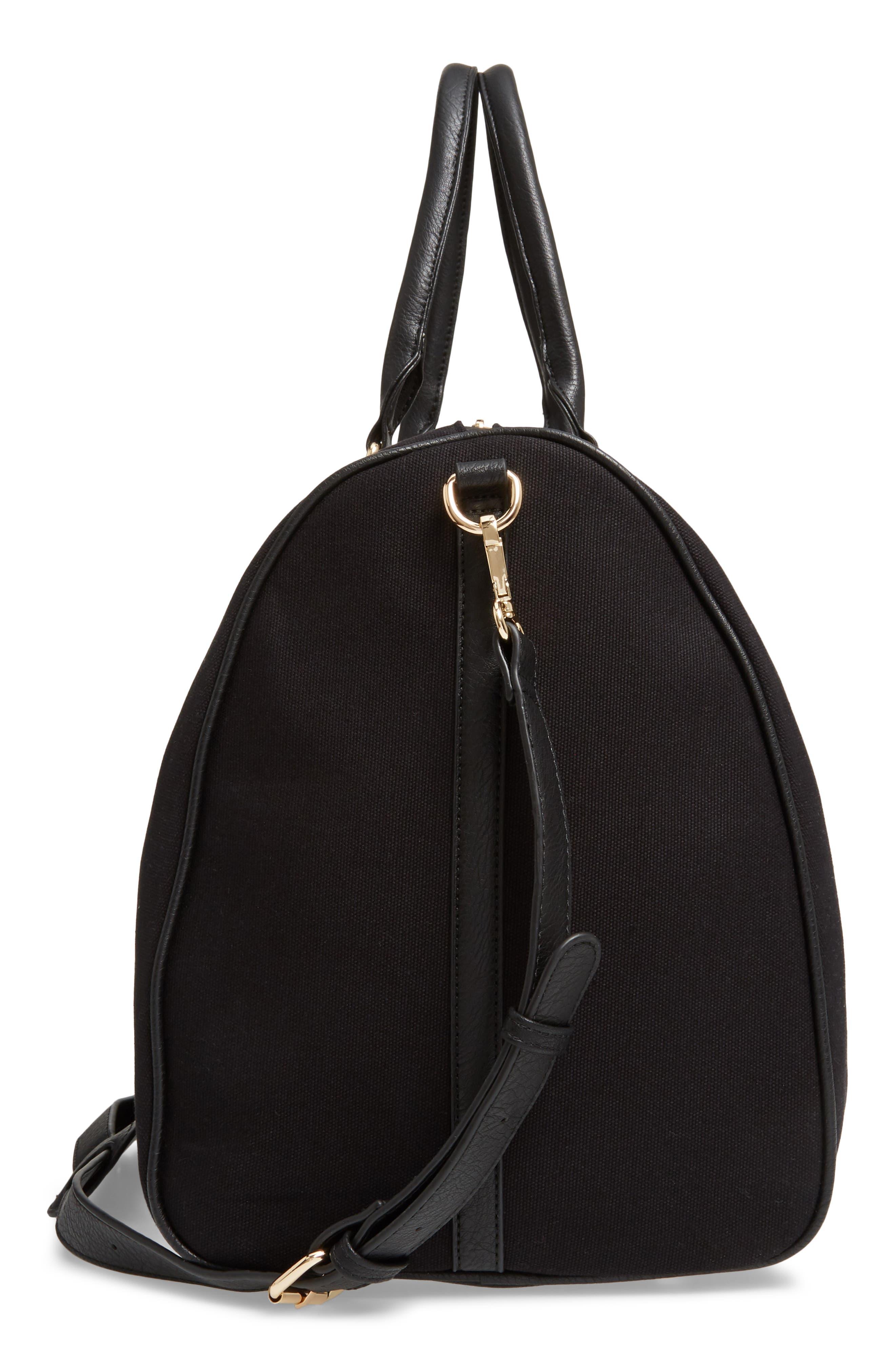 ,                             Lacie Faux Leather Duffle Bag,                             Alternate thumbnail 6, color,                             BLACK CANVAS