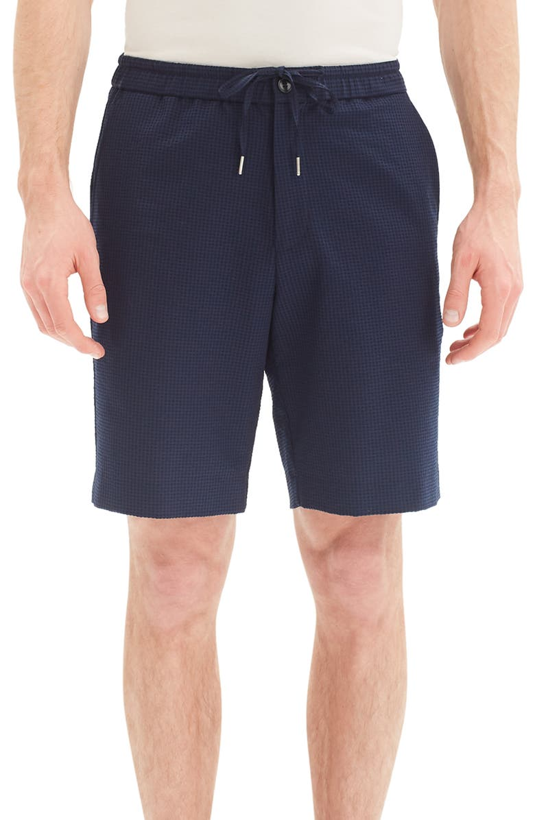 THEORY Noah Regular Fit Seersucker Shorts, Main, color, ECLIPSE