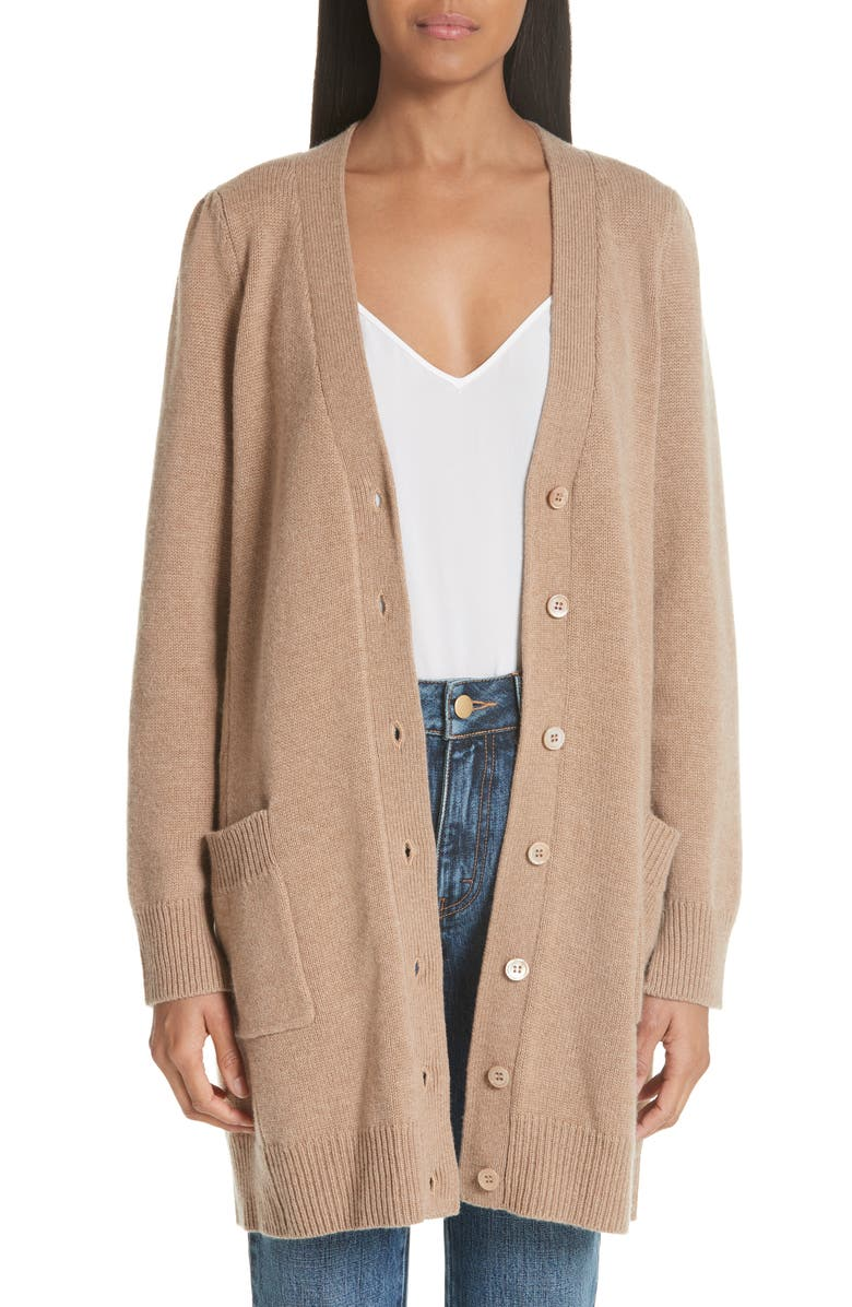 CO Essentials Wool & Cashmere Boyfriend Cardigan, Main, color, OATMEAL