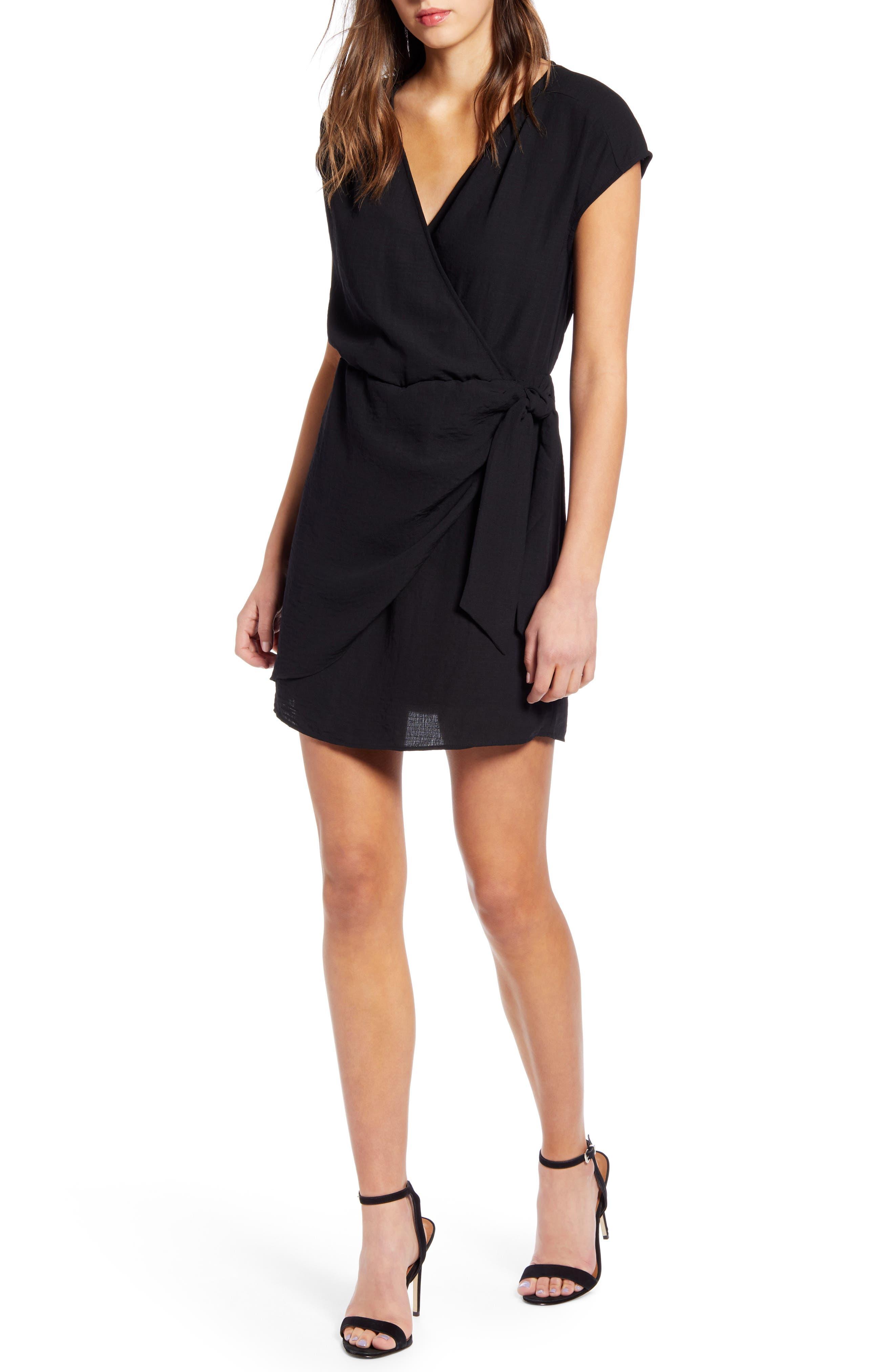 Leith Wrap Minidress, Black