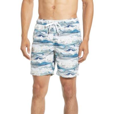 Onia Charles Scenery Swim Trunks, Blue