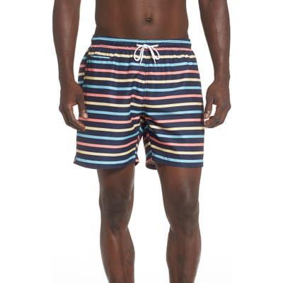 Trunks Surf & Swim Co. Retro Stripe Sano Swim Trunks, Blue