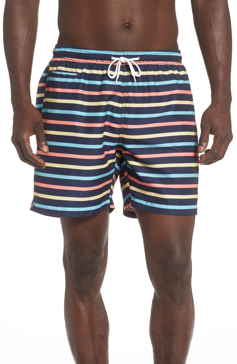 TRUNKS SURF & SWIM CO. Retro Stripe Sano Swim Trunks, Main, color, 461