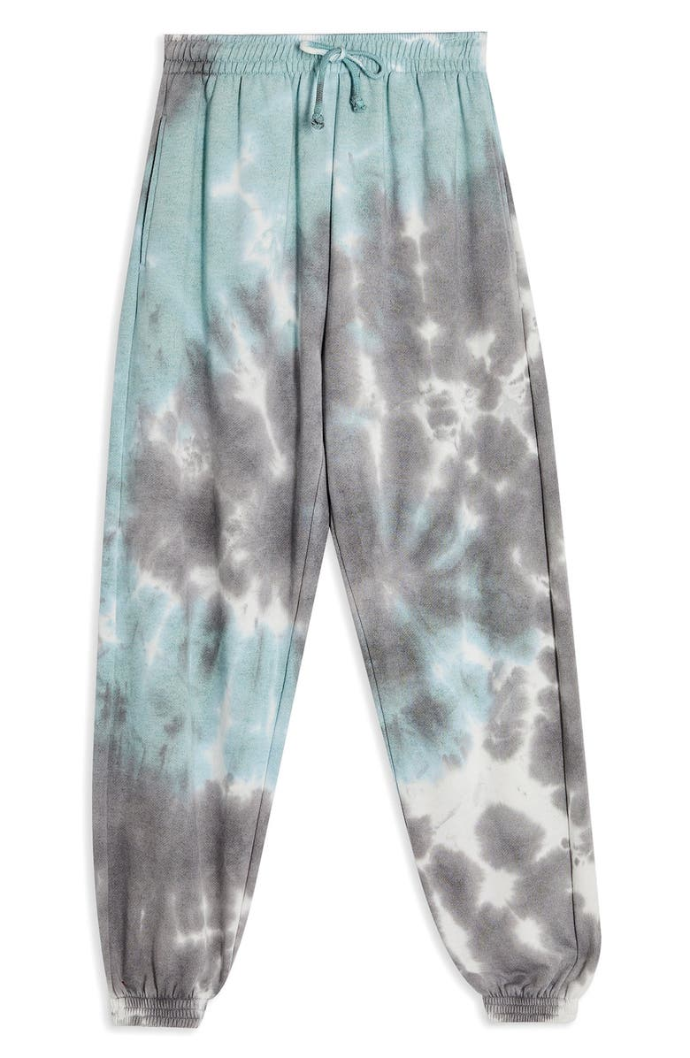 TOPSHOP Tie Dye Joggers, Main, color, BLUE