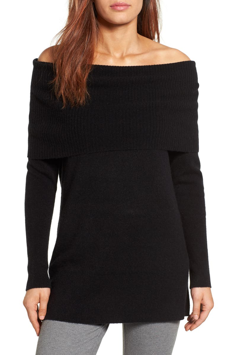 HALOGEN<SUP>®</SUP> Cashmere Off the Shoulder Sweater, Main, color, 001