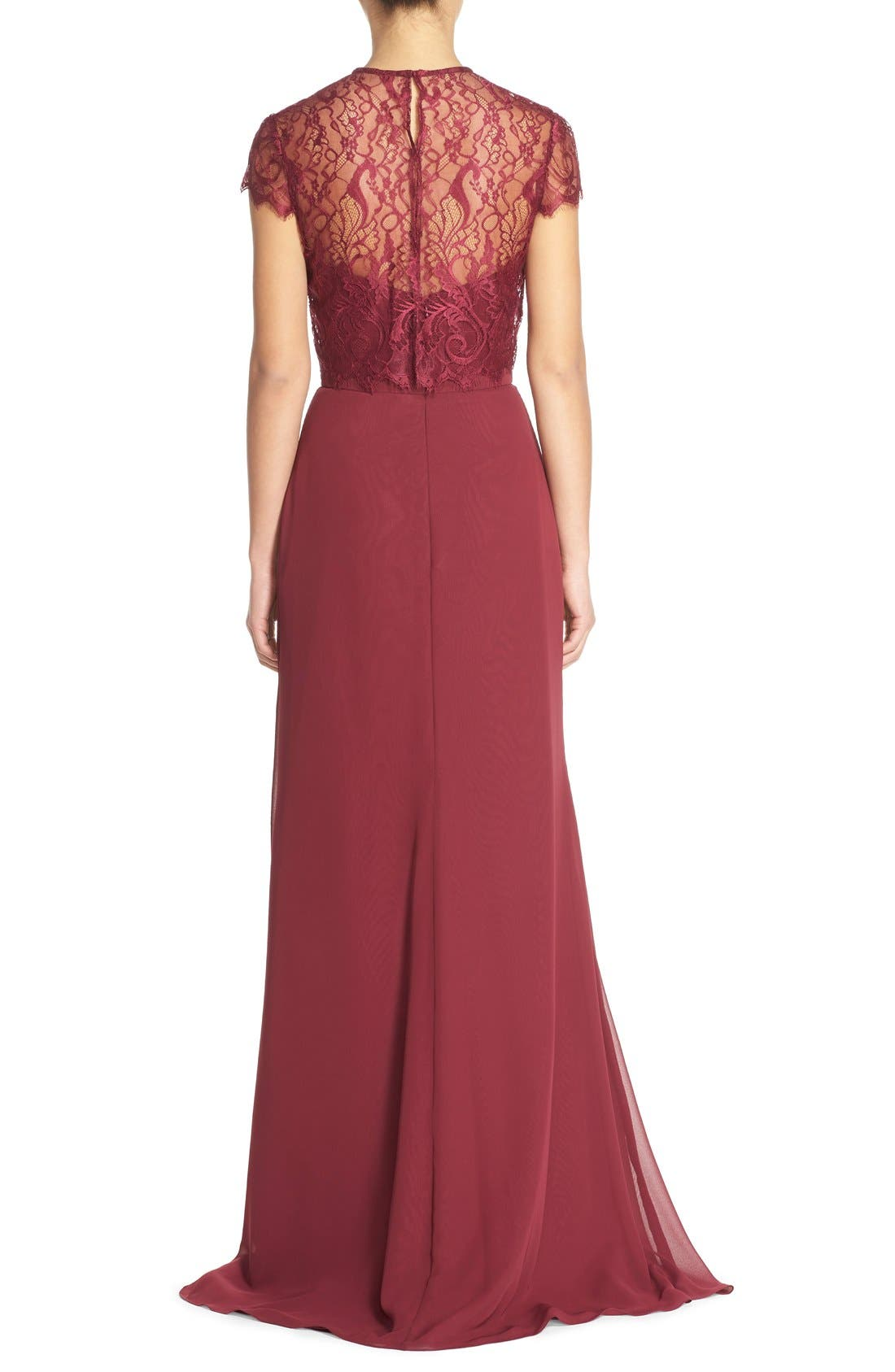 ,                             Strapless Chiffon A-Line Gown with Removable Lace Overlay,                             Alternate thumbnail 14, color,                             930