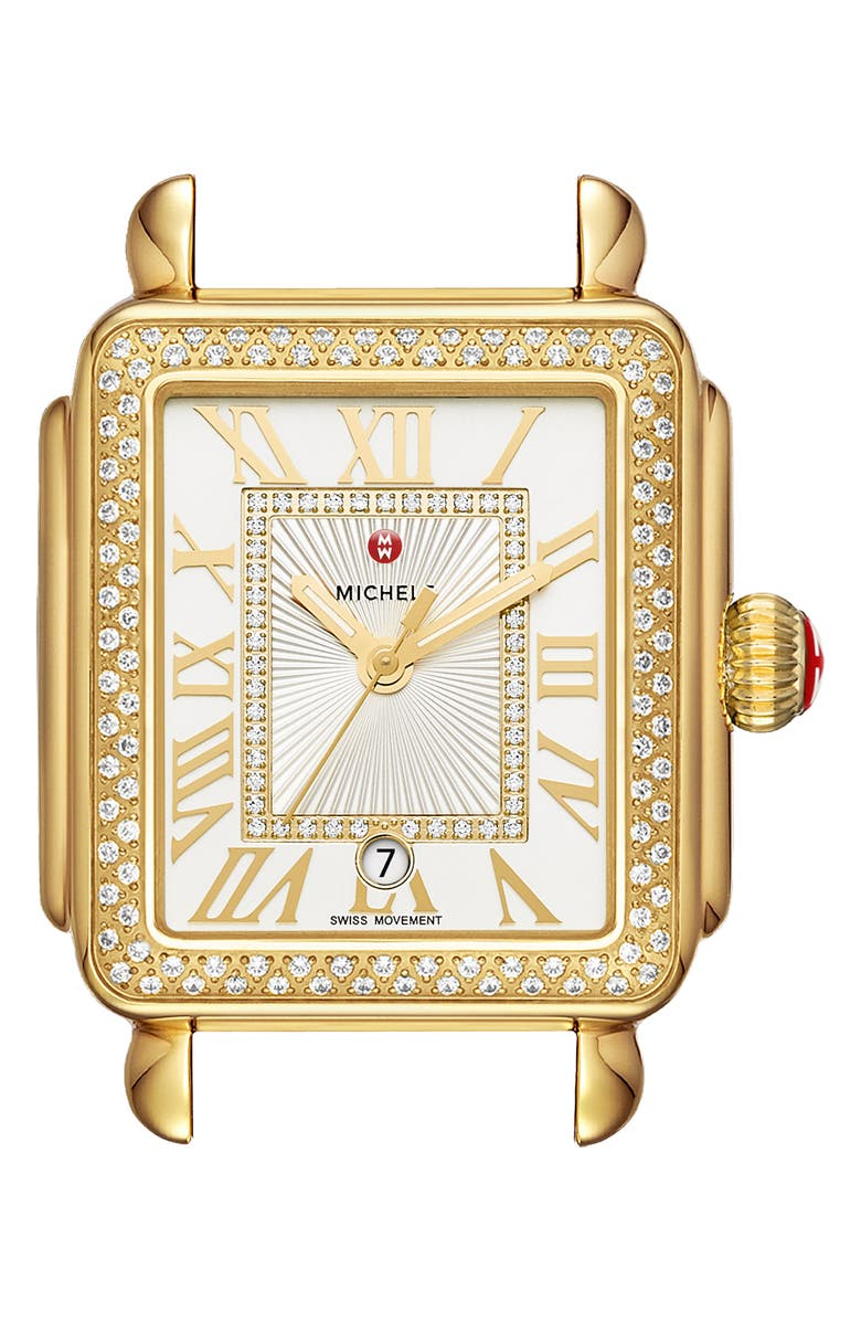 MICHELE Deco Madison Diamond Dial Watch Case, 33mm x 35mm, Main, color, GOLD/ WHITE/ GOLD