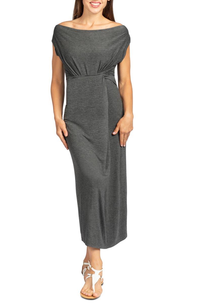 SAVI MOM Hana Maxi Maternity/Nursing Dress, Main, color, CHARCOAL GRAY