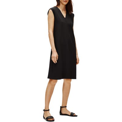 Petite Eileen Fisher V-Neck Sleeveless A-Line Dress, Black