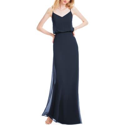 #levkoff Spaghetti Strap Chiffon Gown, Blue
