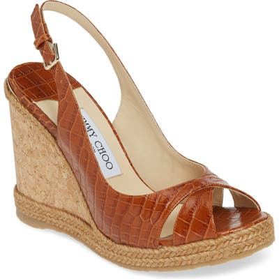 Jimmy Choo Amely Slingback Wedge Sandal - Brown