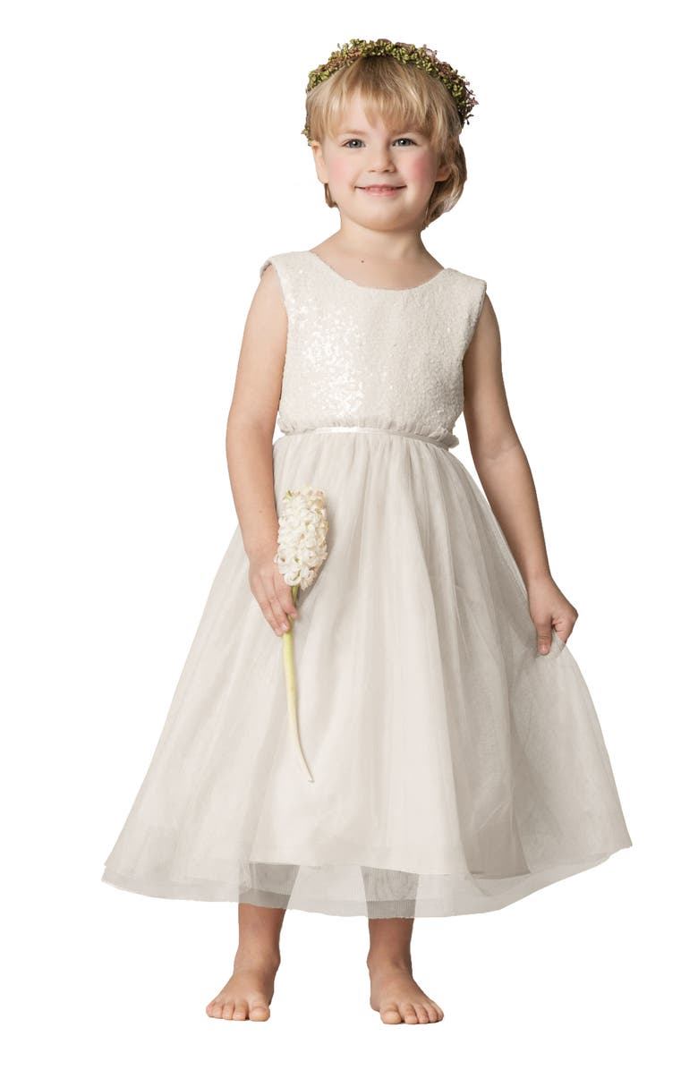 JENNY YOO Collection Rosalie Sequin & Tulle Dress, Main, color, IVORY