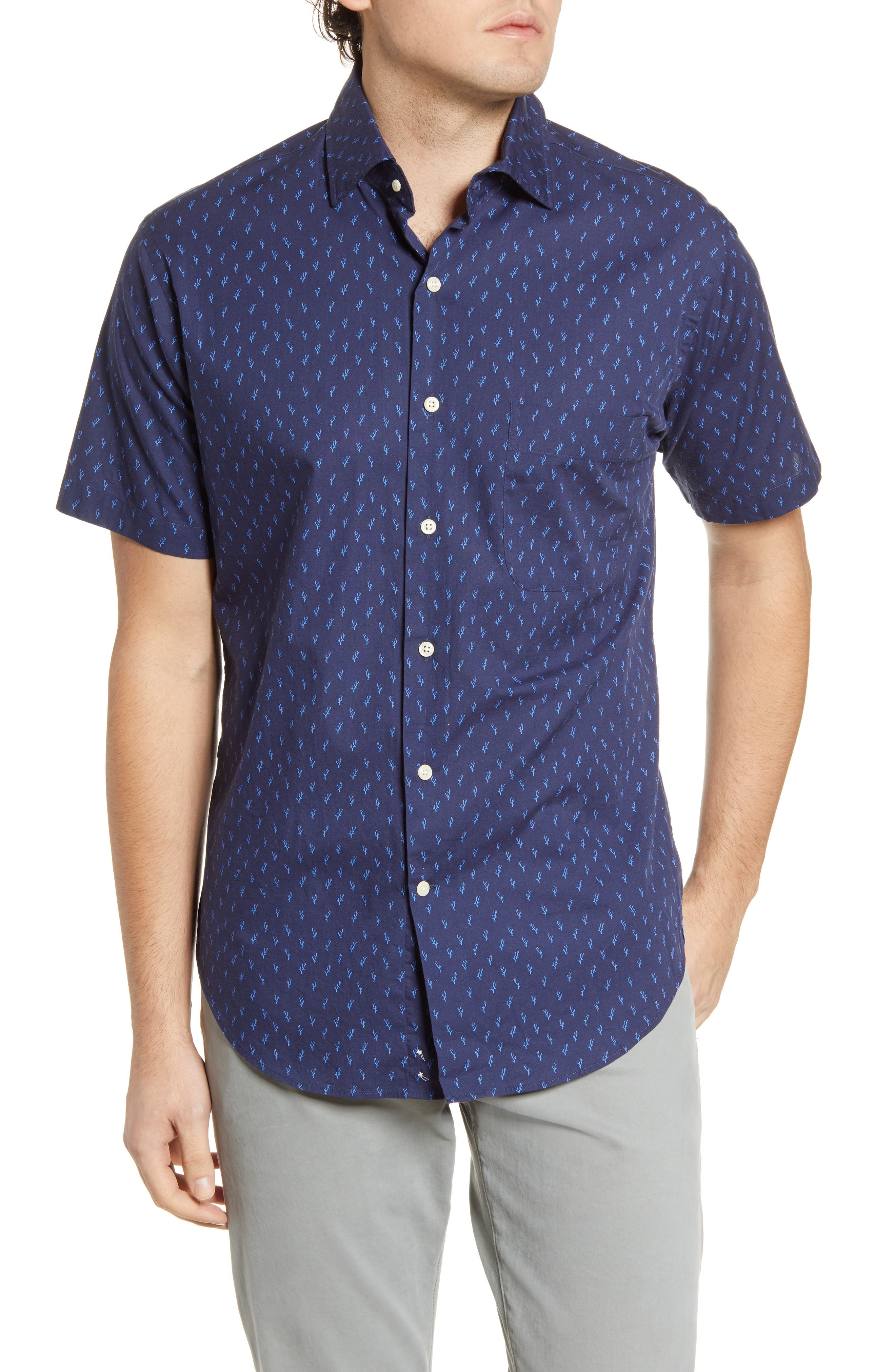 An aquatic pattern makes a splash on a short-sleeve sport shirt in a classic, comfortable fit. Style Name: Peter Millar Raise The Reef Regular Fit Short Sleeve Button-Up Shirt. Style Number: 6001244. Available in stores.