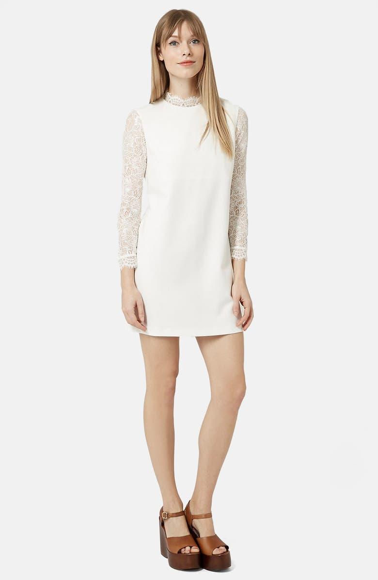 TOPSHOP Mock Neck Shift Dress, Main, color, 100