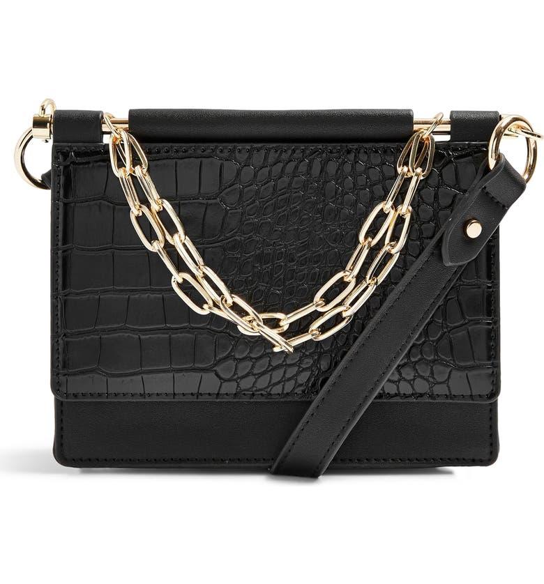 TOPSHOP Tropic Chain Faux Leather Shoulder Bag, Main, color, BLACK