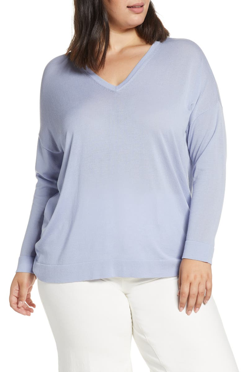 EILEEN FISHER V-Neck Tunic Sweater, Main, color, HYACINTH