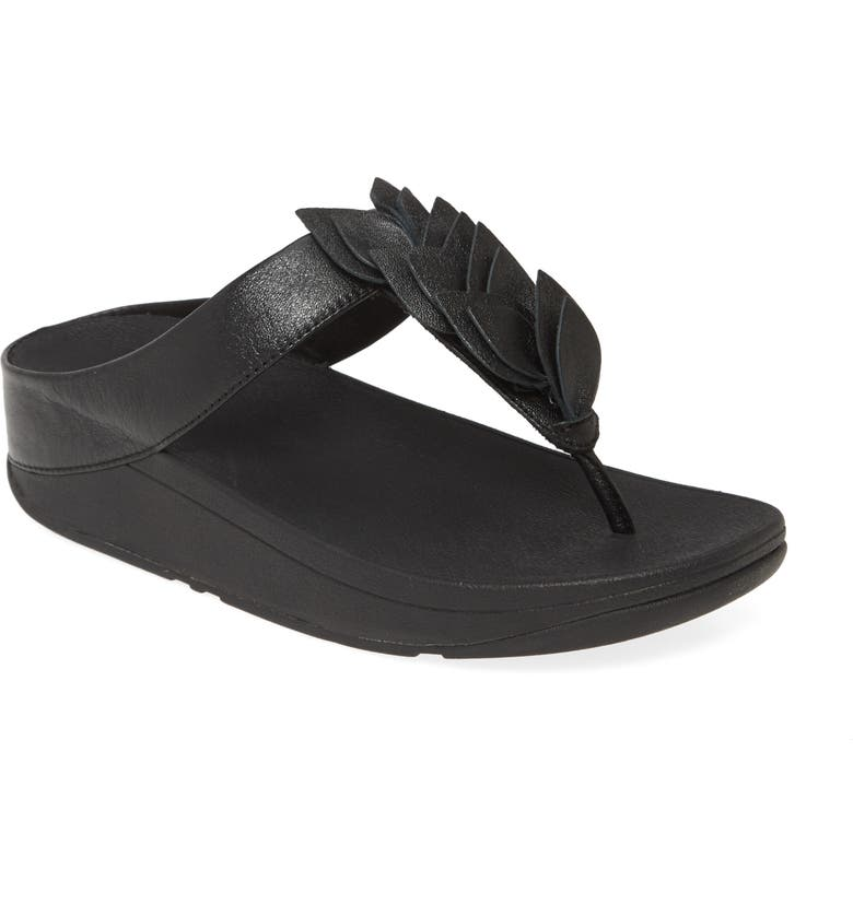FITFLOP Fino Leaf Flip Flop, Main, color, ALL BLACK LEATHER