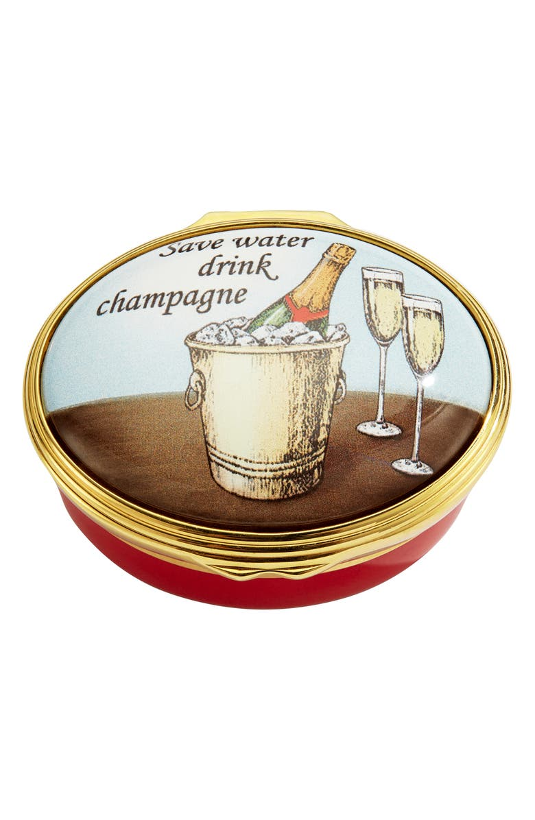 HALCYON DAYS Save Water Drink Champagne Enamel Box, Main, color, RED