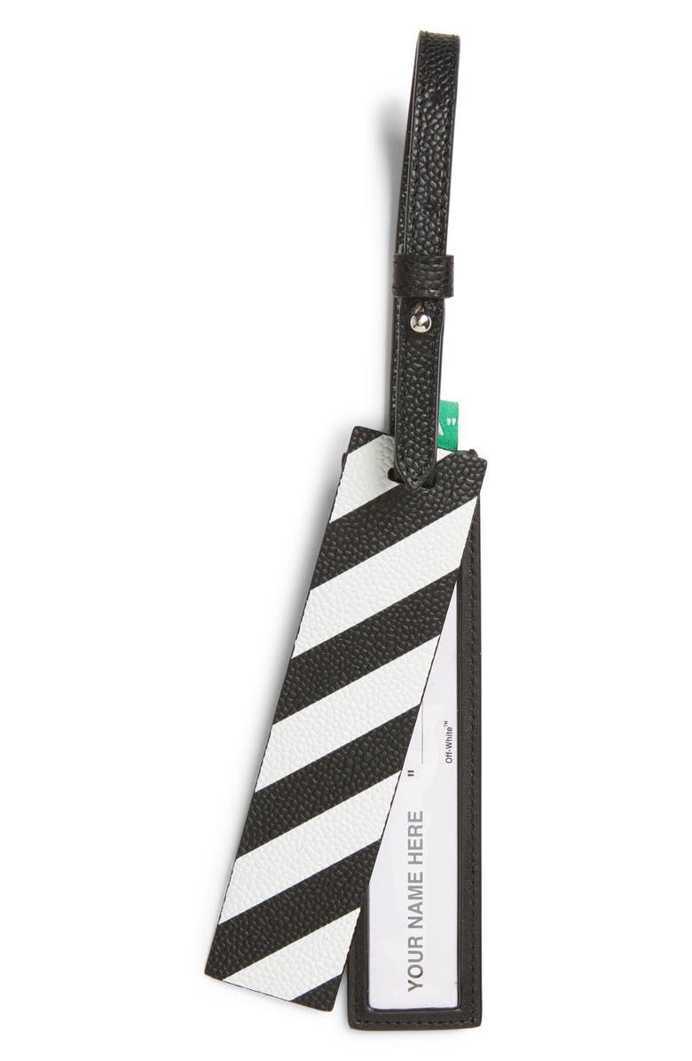 OFF-WHITE Quote Luggage Tag, Main, color, BLACK WHITE