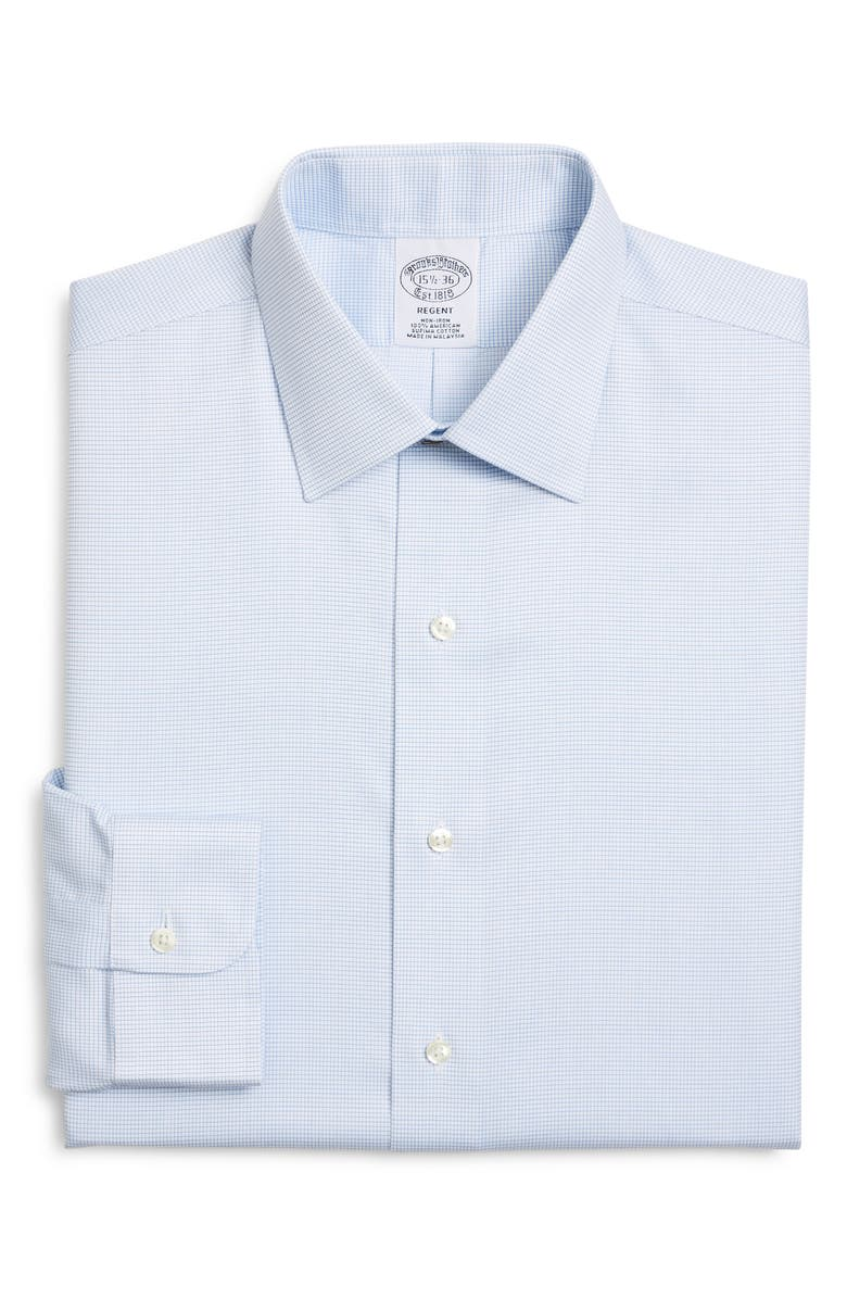 BROOKS BROTHERS Regent Regular Fit Non-Iron Check Dress Shirt, Main, color, MARLIN