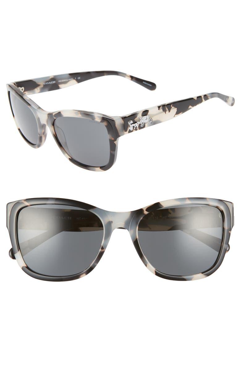 COACH 55mm Cat Eye Sunglasses, Main, color, BLACK CREAM/ BLACK SOLID