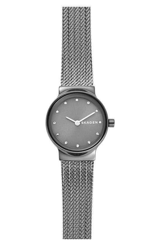 Skagen Freja Crystal Accent Mesh Strap Watch, 26mm In Grey/ Gunmetal