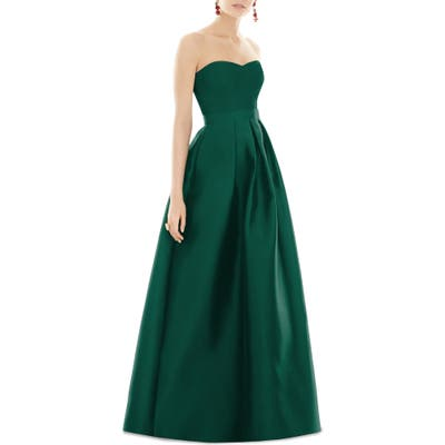 Alfred Sung Strapless Sateen Gown, Green