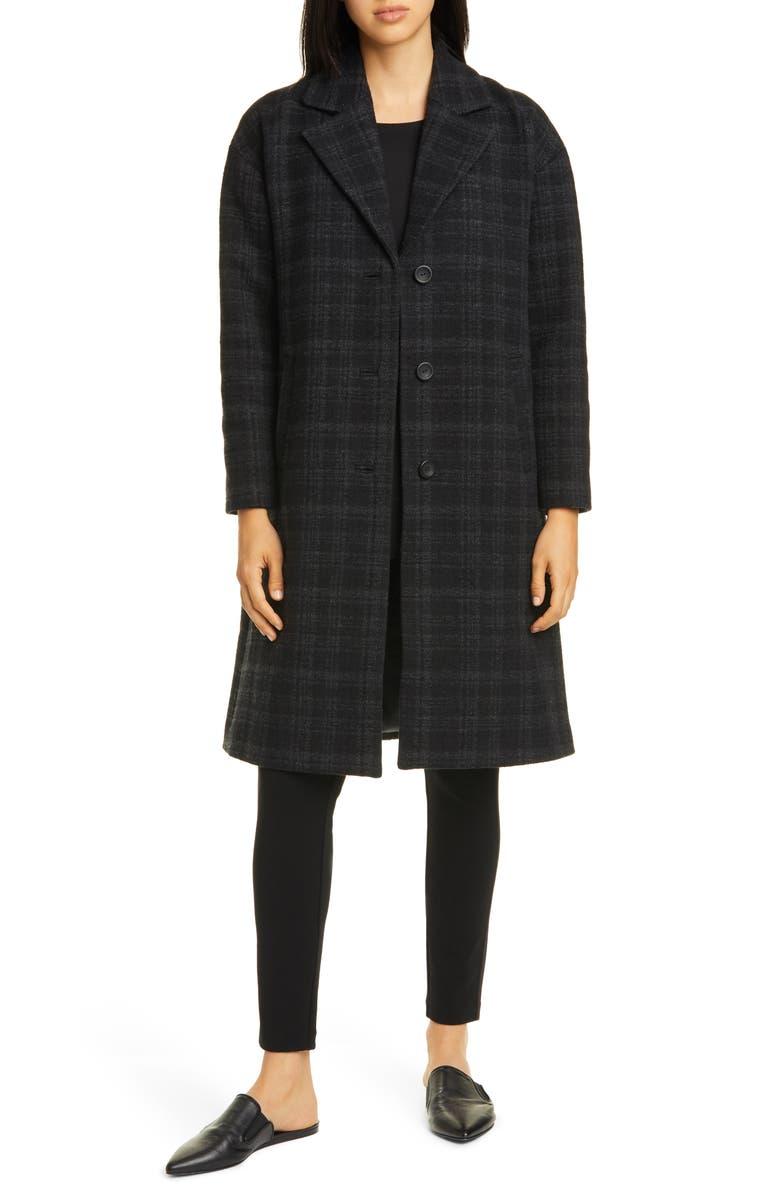 EILEEN FISHER Notch Collar Plaid Organic Cotton & Wool Blend Coat, Main, color, BLACK