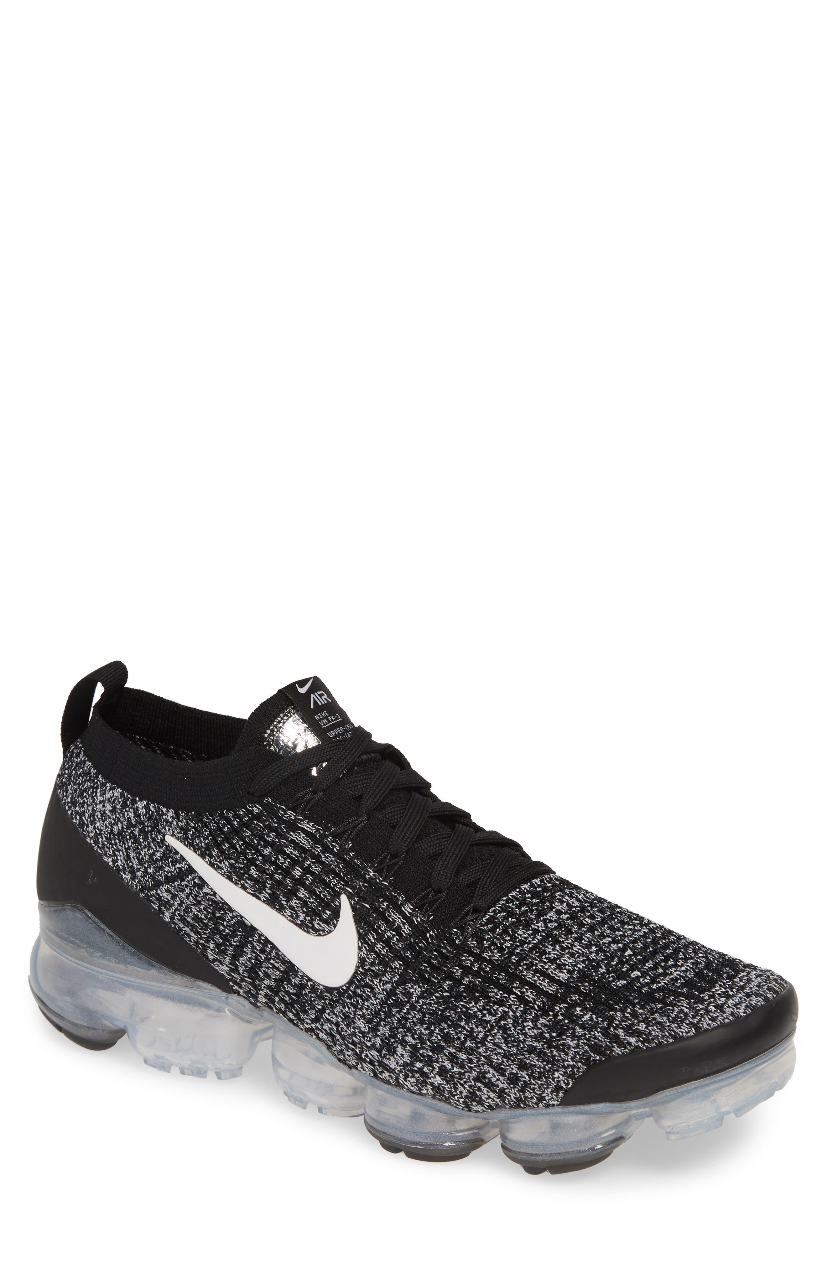Air VaporMax Flyknit 3 Sneaker, Main, color, BLACK/ WHITE/ METALLIC SILVER