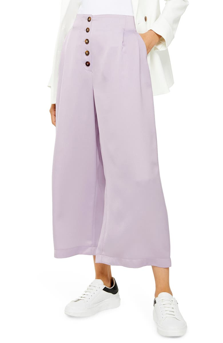 TOPSHOP Coco Satin Wide Leg Crop Trousers, Main, color, LILAC