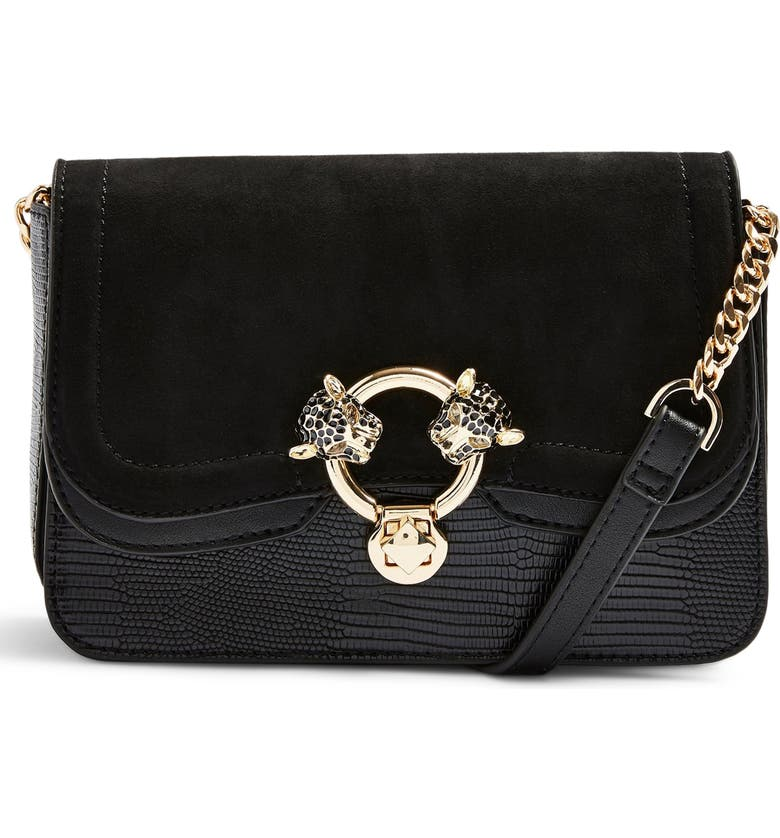 TOPSHOP Double Panther Crossbody Bag, Main, color, 001